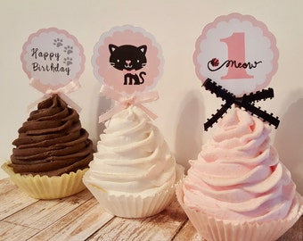 Kitty Cat Cupcake toppers black pink white age colors customizable Set of 12 food picks party decorations