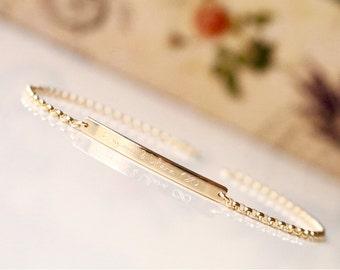 14K Solid Gold Skinny Bar Bracelet - Personalized Bar Bracelet, Coordinates Bracelet - dB3732R