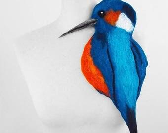 Kingfisher Brooch Felted Brooch Bird Brooch Bird Pin felt nuno Art Deco nunofelt fairy brooch folk boho wool Fairy