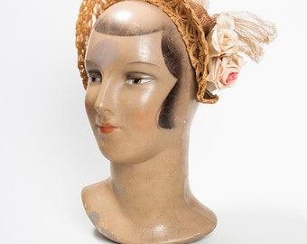 GORGEOUS 1930s Braided Straw Halo Hat with Flowers - Lawn Party - Wedding