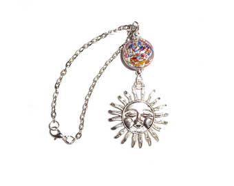 Sun Rear View Mirror Car Charm, Car Mirror Charm Ornament, Car Hanger, Metal Sun, Car Auto Decoration, New Car Gift, Sun Charm, Rainbow Bead