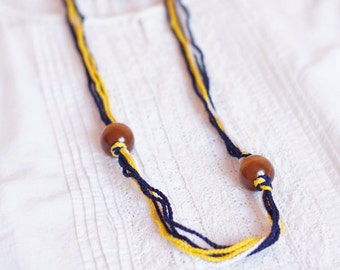 Girls necklace thread cotton for girls lace fiber blue yellow minimalism gift idea fall fashion