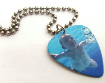 Nirvana Guitar Pick Necklace with Stainless Steel Ball Chain - Nevermind - 1991 album