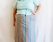 Plus Size - Vintage Pastel Blue Peplum Blouse (Size 16)
