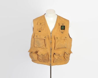 Vintage 60s FISHING VEST / 1960s Columbia Sportswear Hunting Tan Canvas Field  L