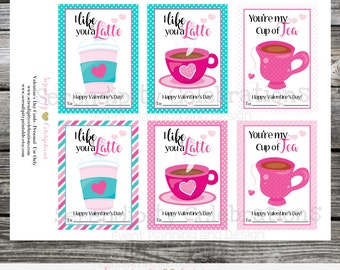 Instant Download, Printable Valentine Cards, I like you a latte Valentine's Day Cards, Coffee Valentine Cards, You're my cup of tea