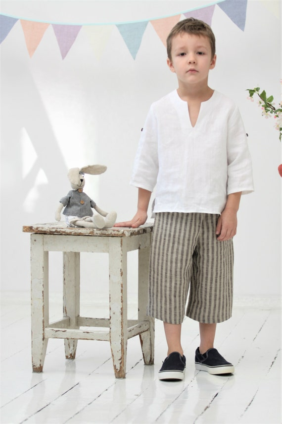 Boys Linen Shirt Toddler Boy White Shirt Ring Bearer Shirt