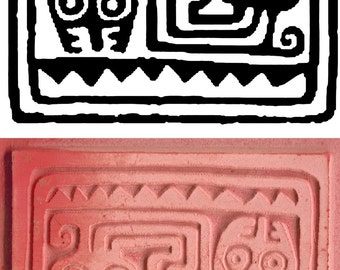 Inca Tribal Two Headed Serpent Design Stamp for PMC Clay - Polymer Clay - Ceramic Clay - Scrapbooking - Inca Peruvian Design Stamping Tool