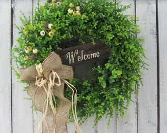 Spring Door Wreath -Eucalyptus Wreath - Summer Wreath - Welcome Wreath  - Spring Summer Door Wreath - Front Door Wreaths - Greenery Wreath