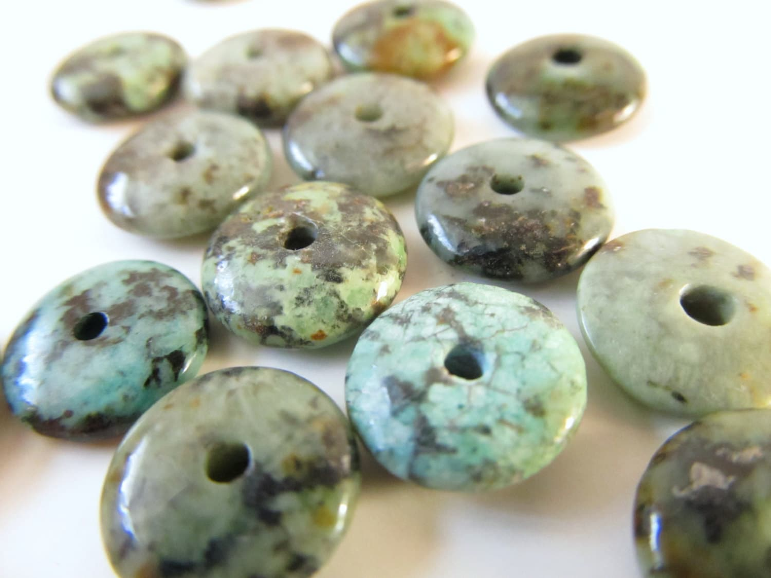 African Turquoise Donut Beads