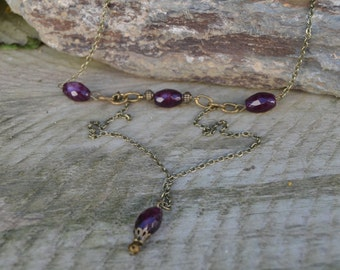 Garnet Necklace layered garnet necklace, Medieval  Jewelry, January Birthstone necklace antique brass garnet necklace, garnet jewelry