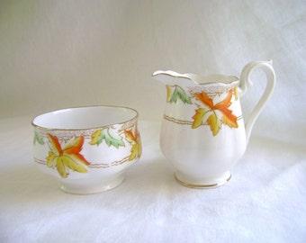 Vintage Royal Albert, Maple Leaf, Cottage Chic, 1920s Creamer and Sugar Bowl, Thanksgiving Decor, Handpainted China, English Porcelain