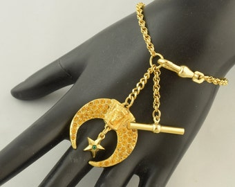Vintage Pocket Watch Chain Bracelet with Rhinestone Moon Star Fob ~ Lot 963