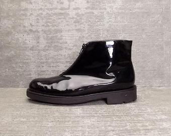 Vtg 90s Black Patent Leather Minimal Zipper Ankle Boots 7.5