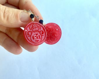 Red jade dangle earrings - carved jade earrings- red gemstone dangle earrings