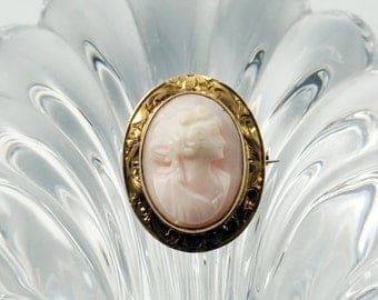 Antique Cameo, Cameo Jewelry, Cameo Brooch, 14K Yellow Gold Cameo Pin, Antique Victorian CXK Champenois & Co 14K Gold Angel Skin Cameo Pin