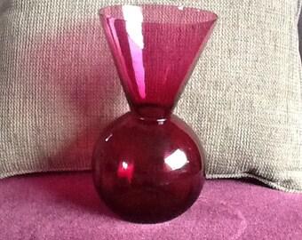 Cranberry-color Glass Vase