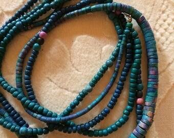 Mostly Aqua Wooden Bead Necklace