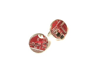 Motherboard cufflinks red computer board cufflinks cyberpunk circuitry circuits steampunk geek handmade wedding Father's Day