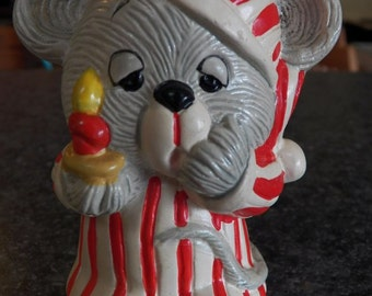 Vintage Enesco Christmas Ceramic MOUSE Mice Bank