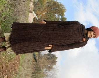 Wool hooded sweater warm long hooded fairy gown a warm wrap