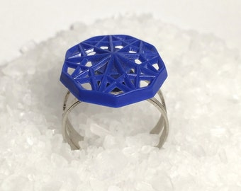 Geometric blue ring // Cobalt blue ring // Vintage button ring // Up cycled ring // Eco friendly gift // Something blue // Geometric ring