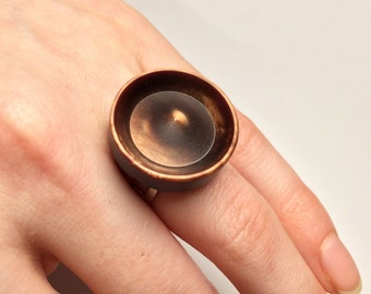 Big ring // Adjustable ring // Vintage button ring // Up cycled ring // Big copper ring // Birthday gift // Large Statement ring