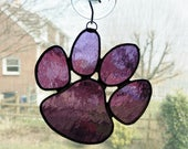 Stained Glass Paw Suncatcher - Animal Paw - Paw Print - Pet Loss Gift - Dog Gift - Dog Paw - Pet Lover Gift - Cat Paw - Purple
