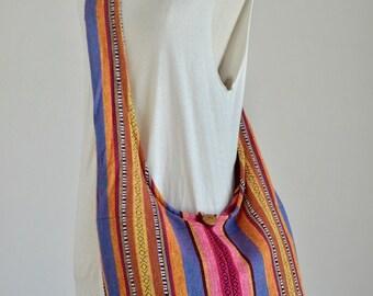 Woven Sling Bag Ethnic Boho Bag Hobo Bag Hippie Bag Cotton Crossbody Shoulder Bag Messenger Bag Diaper Bag Casual Handbags (Floriana)