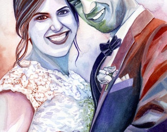 PAPER ANNIVERSARY GIFT for husband, personalized wedding portrait painting, best first anniversary gift for him, for men, modern style