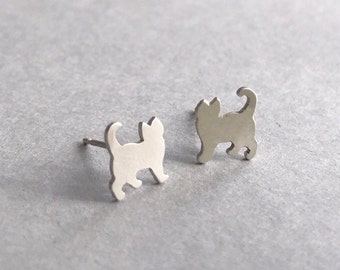 Tiny Cat Earrings, Cat studs, Sterling silver