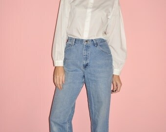 Vintage 80s 90s High Rise Faded Denim Blue Frayed Cropped Chic Mom Jeans 28 5/6