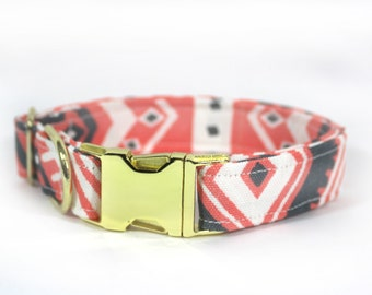 "Hot pink/coral tribal/geometric dog collar - ""Fashionista"""