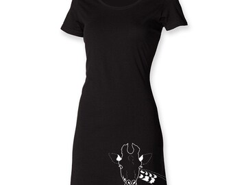 Giraffe t shirt dress, gift for her, animal print dress, minimal apparel, hipster women dress