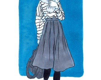Girl on Blue INKtober Fashion Art Print, Original Ink Print, Original Artwork Print, Fashion Print, INKtober Print