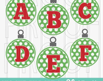Christmas SVG set of 26 Letters-Includes A through Z SVG PNG jpg formats all included polkadot svg ornament svg monogram ornament
