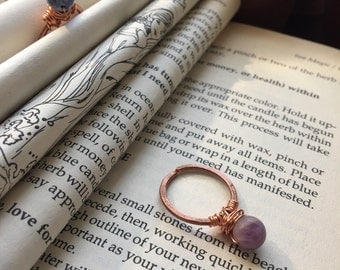 Frosted chevron amethyst and hammered copper ring