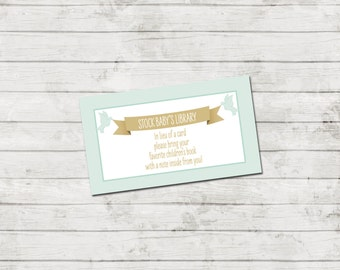 Book Request - Storybook Baby Shower Invitation - Book Baby Shower - Storybook Theme - Mint and Gold - INSTANT DOWNLOAD - Printable
