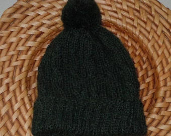 Alpaca Knit Hat - Baby /Toddler 9-12 mos - Forest Green