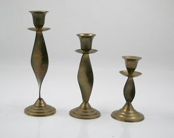 Twisted Brass Candle Holders