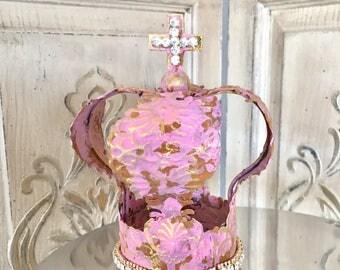 Embellished Metal crown, crown decor, cake topper, Mediterranea Design Studio, french antique, pink crown, wedding decor, shabby chic