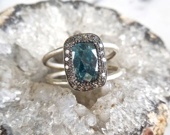 Cushion Diamond Ring - Blue Diamond Halo Ring, Blue Diamond Engagement Ring, Rose Cut, Stacking, Natural Inclusion, Handmade Engagement Ring