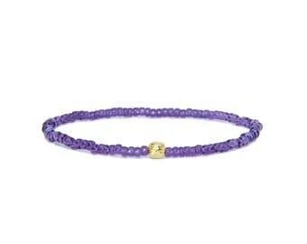 Beaded Bracelet in 18K Solid Yellow Gold - Beach Boho Stretch Cord- Tiny Purple Glass Beads - Men Women Unisex Gift Him Her