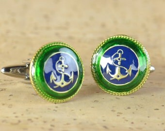 Original Anchor Cufflinks made with antique enameled buttons