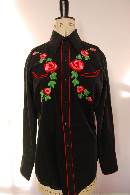Vintage s karman western rose embroidered pearl snap shirt