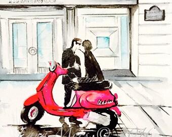 Tiffanny Love Original Watercolor Illustration - Paris Pink Vespa Watercolor - Lana Moes' Romantic Wanderlust Collection
