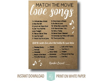 Rustic Bridal Shower Game-Match the Movie Love Songs- Digital Shower Game- Customization NOT Included