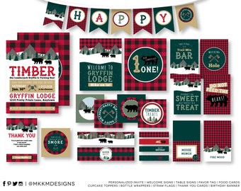 Lumberjack Birthday Party Kit, Personalized Party Kit, Lumberjack Invitation, Camping Party Decor, Birthday Banner, Camping Birthday, #46