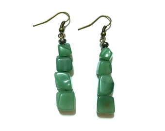 Green Crystal Earrings - Aventurine - Calming - Emotional Healing - Anxiety Relief - Abundance - Luck - Stress Relief - Heart Chakra - Reiki