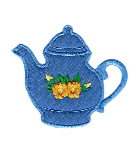 Tea Pot Applique, Sew On Patch, Glue On Patch, Handmade Embroidered Teapot Applique Patch